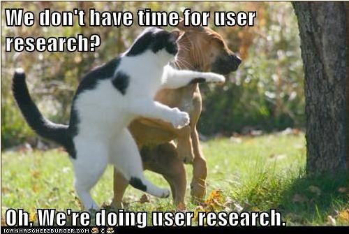 """UX Kitteh image of a cat slapping a dog, with the line """"we don't have time for user research? Oh, we're doing user research."""""""