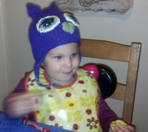 Owl hat, modeled by Avery Mesibov