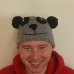 Panda hat, modeled by Nik