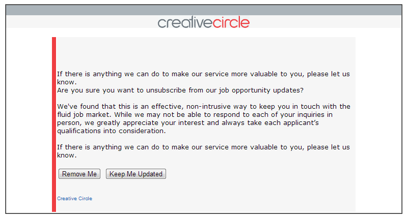 Although Creative Circle asked me to provide more information, they didn't give me a space to do so.