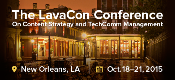 """Logo for LavaCon, where I gave the talk """"A Little Content Fish in a Big Company Pond"""""""