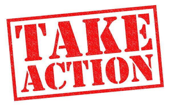 "A sign that says ""take action"" (one way to show your support)"