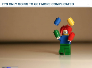 An image of a juggler representing the complications of structured content