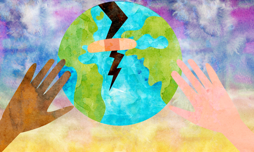Image of the world with a bandaid, with 2 hands (1 black, 1 white) helping it. This represents tikkun olam.