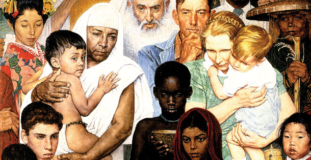 Norman Rockwell's painting, Golden Rule, which shows people of all nationalities
