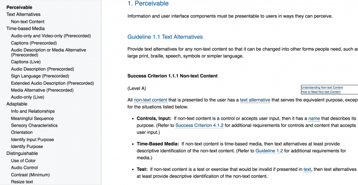 Screenshot of the WCAG 2.1 guidelines