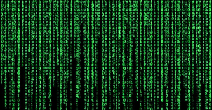 Lines of green numbers, from the movie The Matrix. This is intended to represent the complexity of personalized content.
