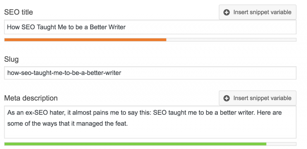 A screenshot of SEO Yoast's SEO title, Slug, and Meta description