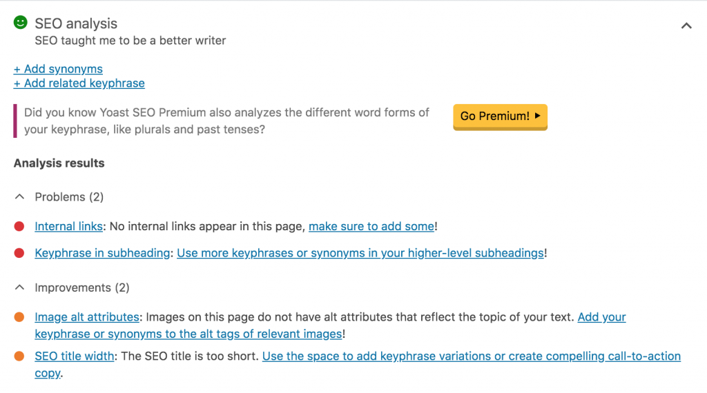 Screenshot of an SEO analysis, including notes on problems, improvements, and good results