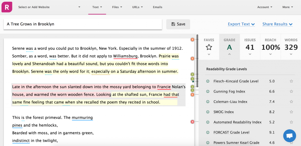 A screenshot from Readable.io showing an excerpt from A Tree Grows in Brooklyn scoring a 5.0 on the Flesch-Kincaid grade Level.