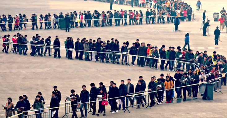 People in a line