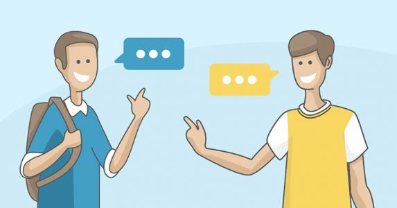 Image of 2 people in dialogue