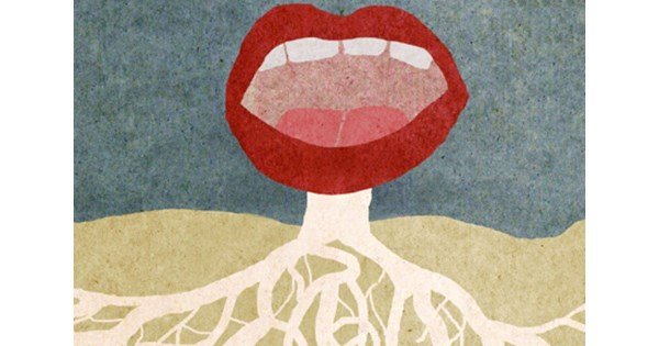 a mouth with roots, signifying the mother tongue