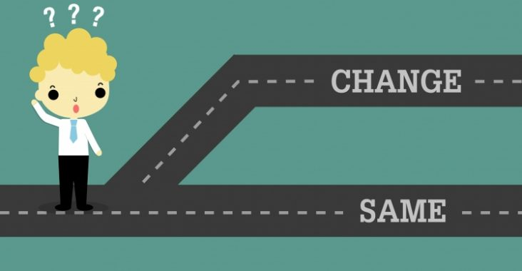 """A person standing at a crossroads with the options """"change"""" or """"same"""""""