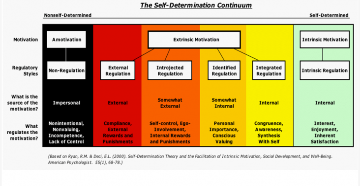 The self-determination continuum, ranging from external motivators (rewards and punishments) to intrinsic motivators (interest, enjoyment, and inherent satisfaction)
